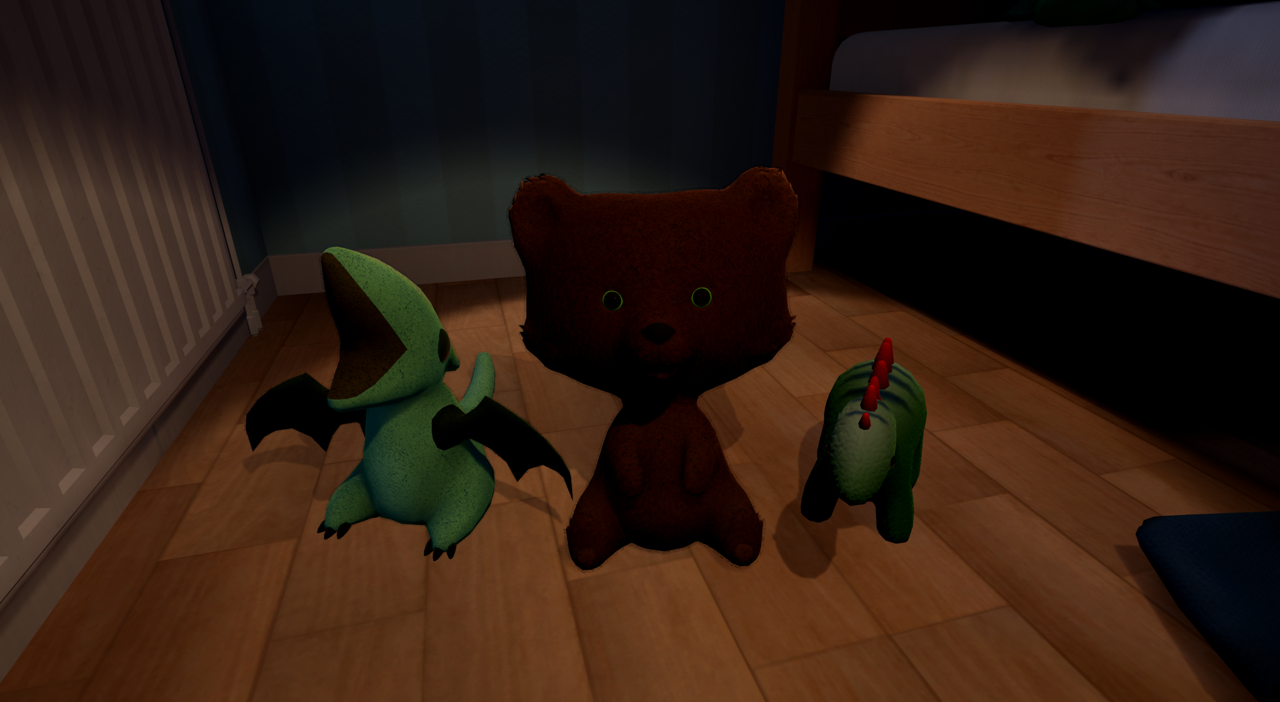 Teddy and friends, some of the child protagonist's favorite toys.