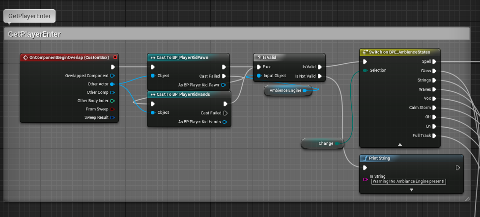 UE4's blueprint system showing part of the ambience engine's setup. Here: the overlap trigger checks for parts of the player, and if it finds it, checks with its own settings to see what sound to activate.