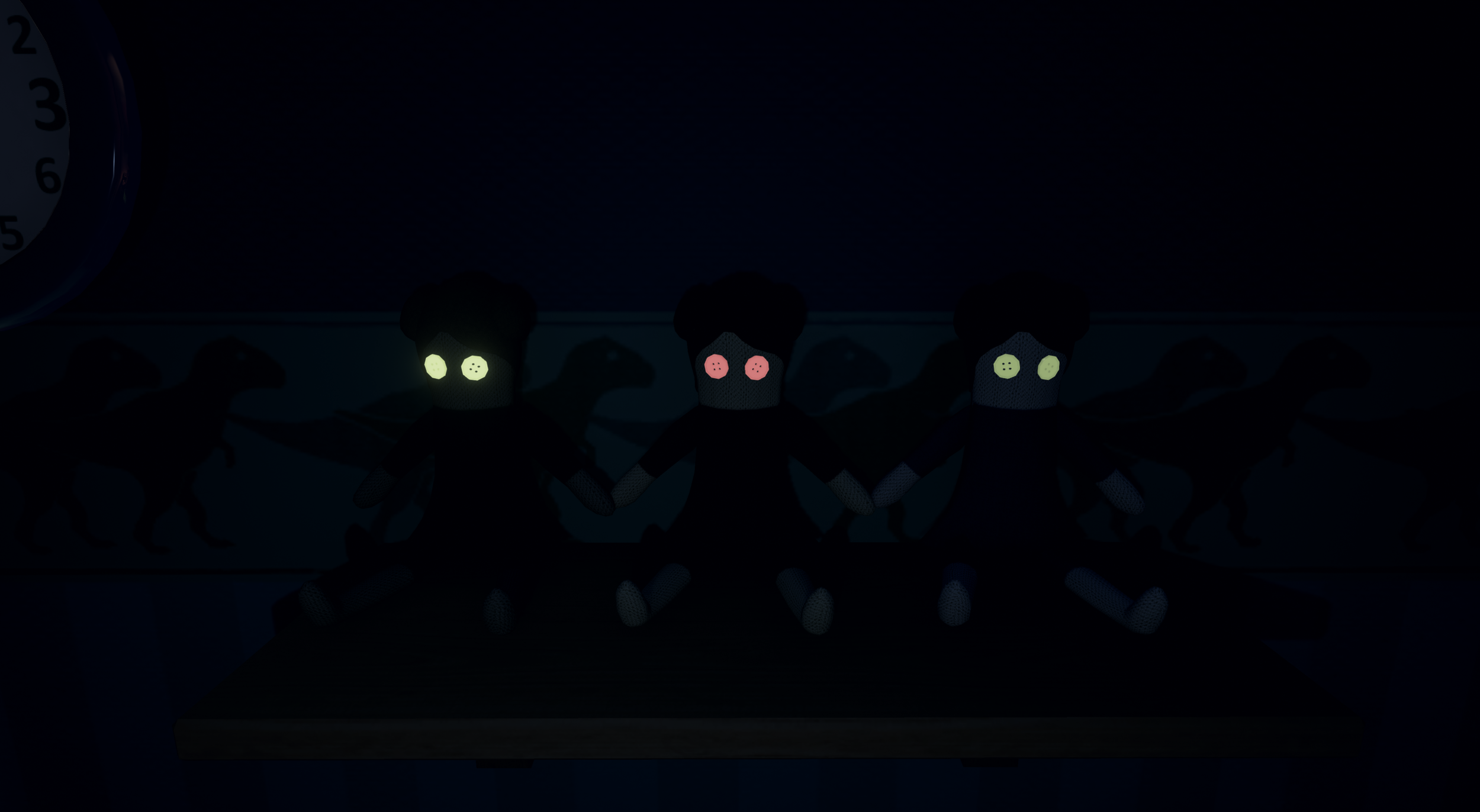 Teddy keeps popping up on lit shelves throughout the game.His counterpart;the dolls seen in this picture, hides on shelves shrouded in darkness.
