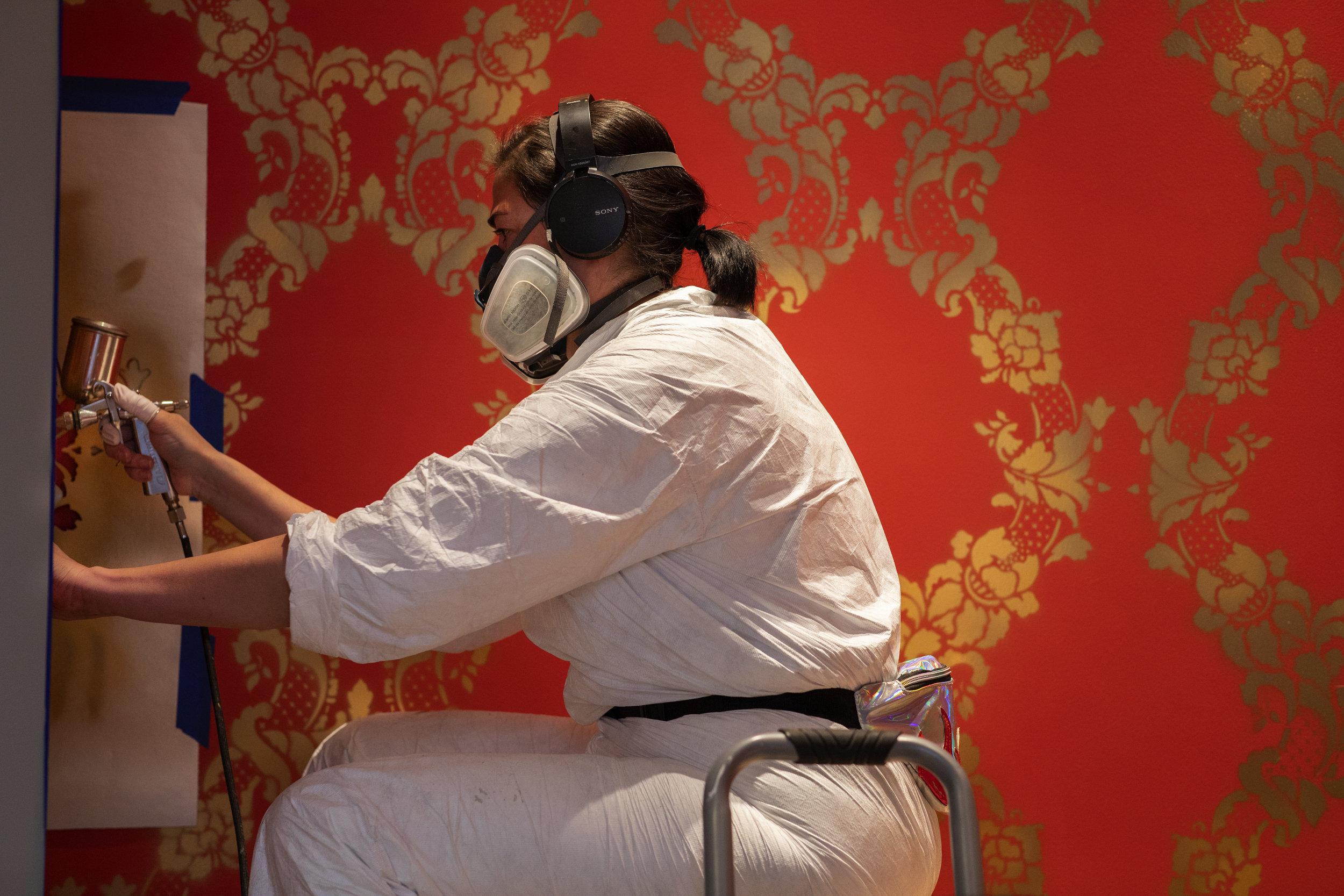 Stencils, spray paint, wall-to-wall - by Vanessa Platacis (Guest contributor for Peabody Essex Museum)