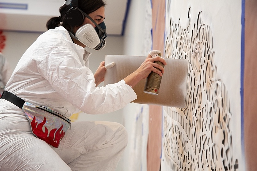 Vanessa Platacis is SPray painting the peabody essex museum for taking place - by Alyssa Vaughn for Boston Magazine | 8.7.2019