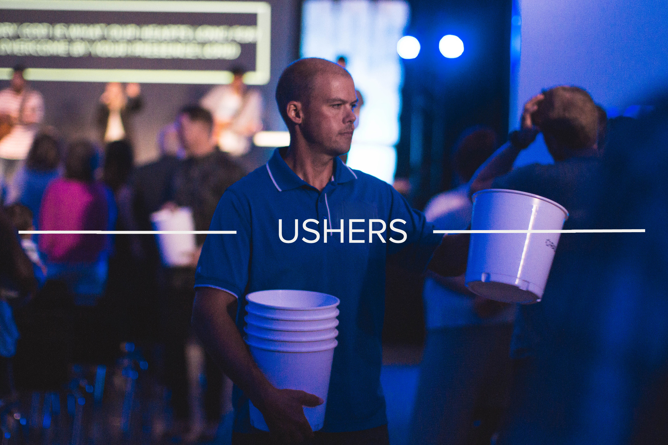 USHERS - The ushers keep the sanctuary safe, orderly, and serve throughout the service from helping families find seats to facilitating communion.