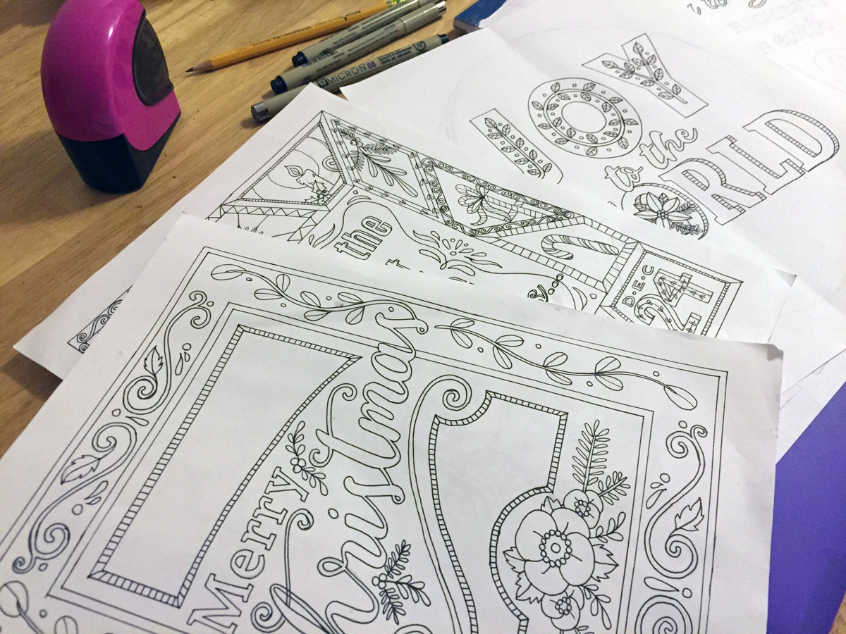 Some of my drawings for coloring pages in my upcoming Christmas collection
