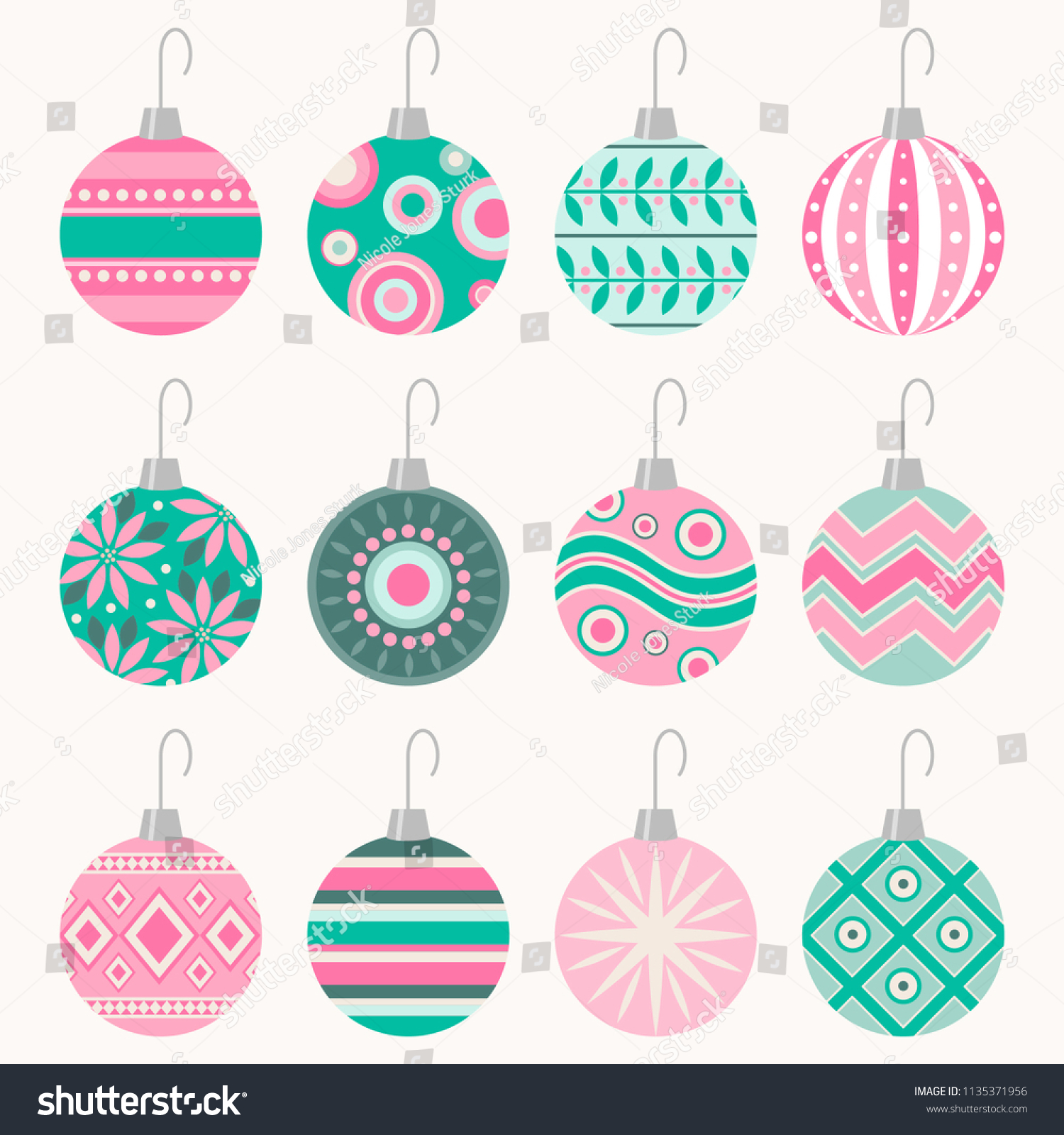 Christmas Ornaments Vector.Retro Christmas Ornaments Vector Art Set Nicole Jones Sturk
