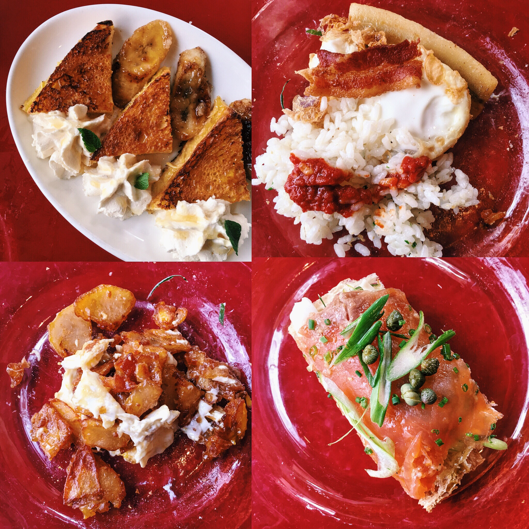 Left to right, top to bottom: french toast with plantains | rice, tomato jam, a poached egg, and iberico ham bacon | hash with eggs over easy and iberico ham bacon | cured salmon with green onions and capers