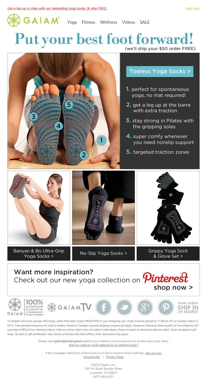 Toeless Yoga Socks Email