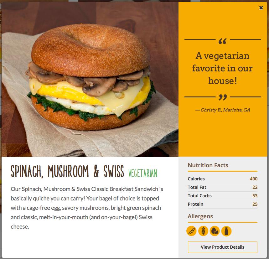 Einstein Bros. Spinach, Mushroom & Swiss Breakfast Sandwich