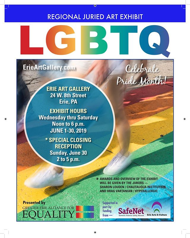 Today we @chq.art are at @erieartgallery to celebrate #LGBTQ artists from the region from 2-5pm. If you're in town, join us! @chq1874 #happypride 🌈🎉🖼💞