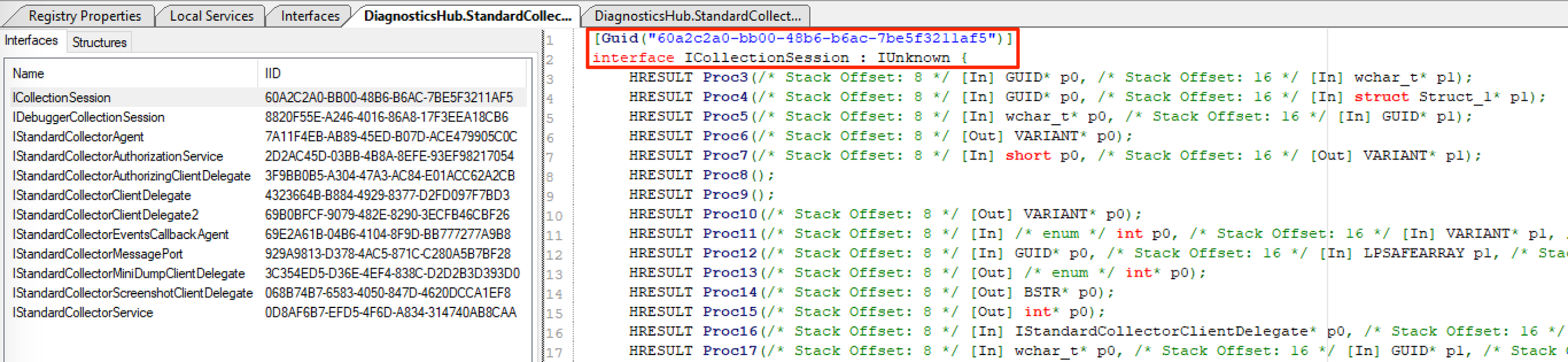 ICollectionSession interface definition in OleViewDotNet