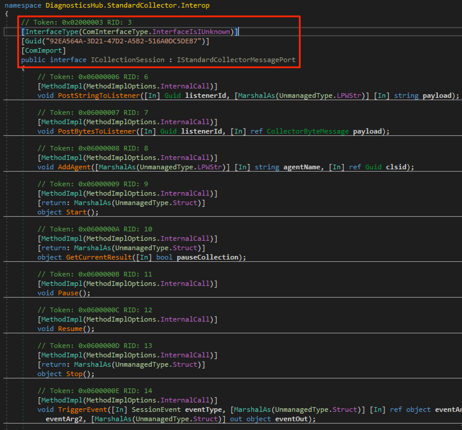 Visual Studio ICollectionSession definition with different IID