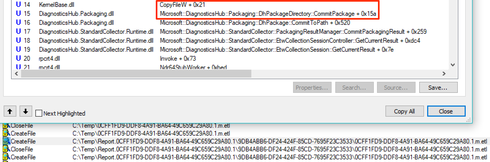 CopyFile operation performed by the Standard Collector Service