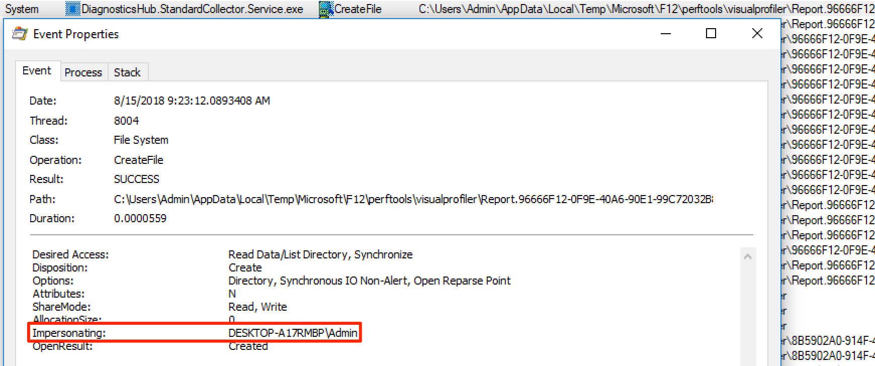 Report folder being created with impersation