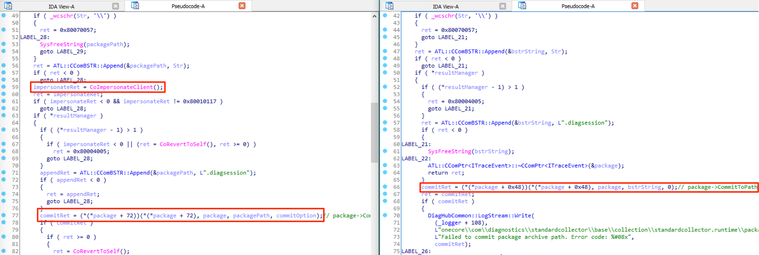 CoImpersonateClient added to CommitPackagingResult in DiagnosticsHub.StandardCollector.Runtime.dll
