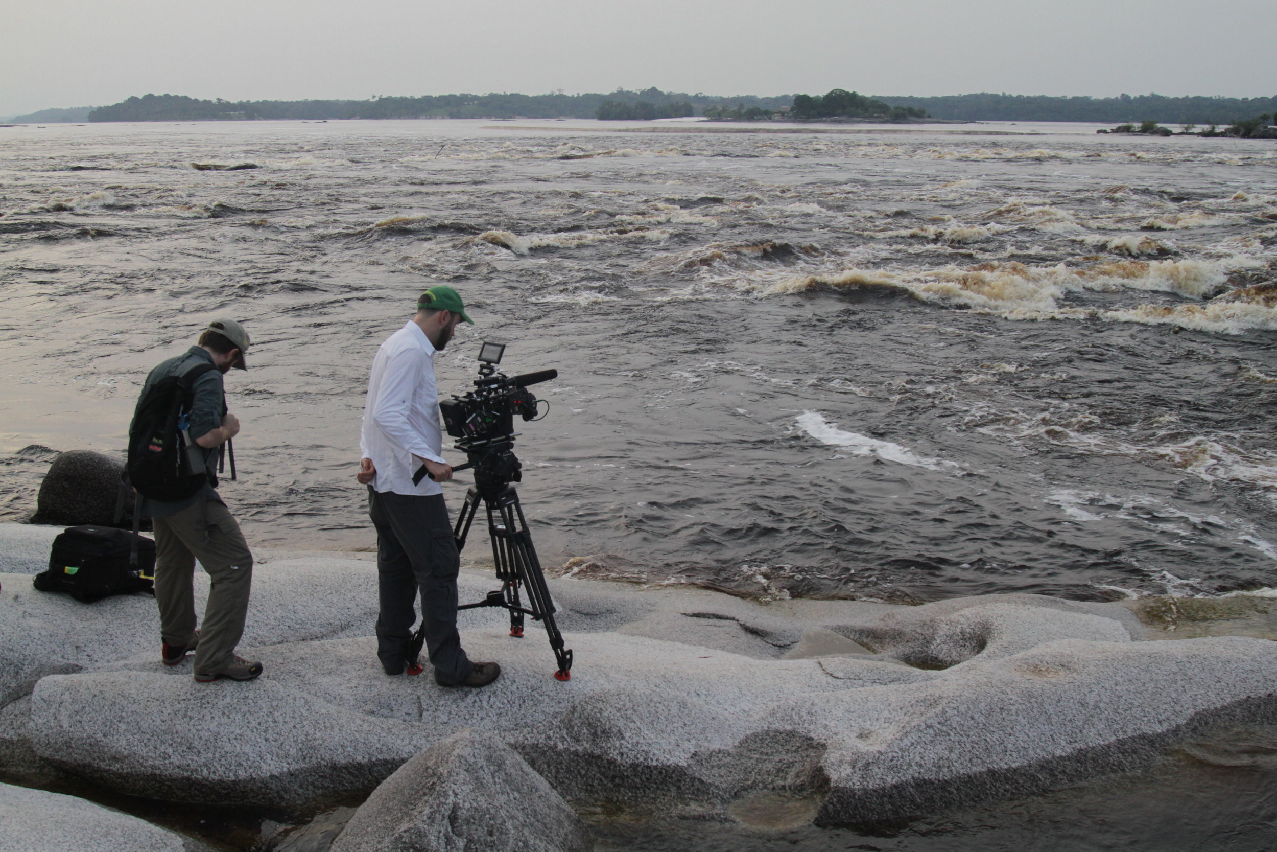 Camera crew getting the shot in São Gabriel Cachoeira, Amazonas state, Brazil