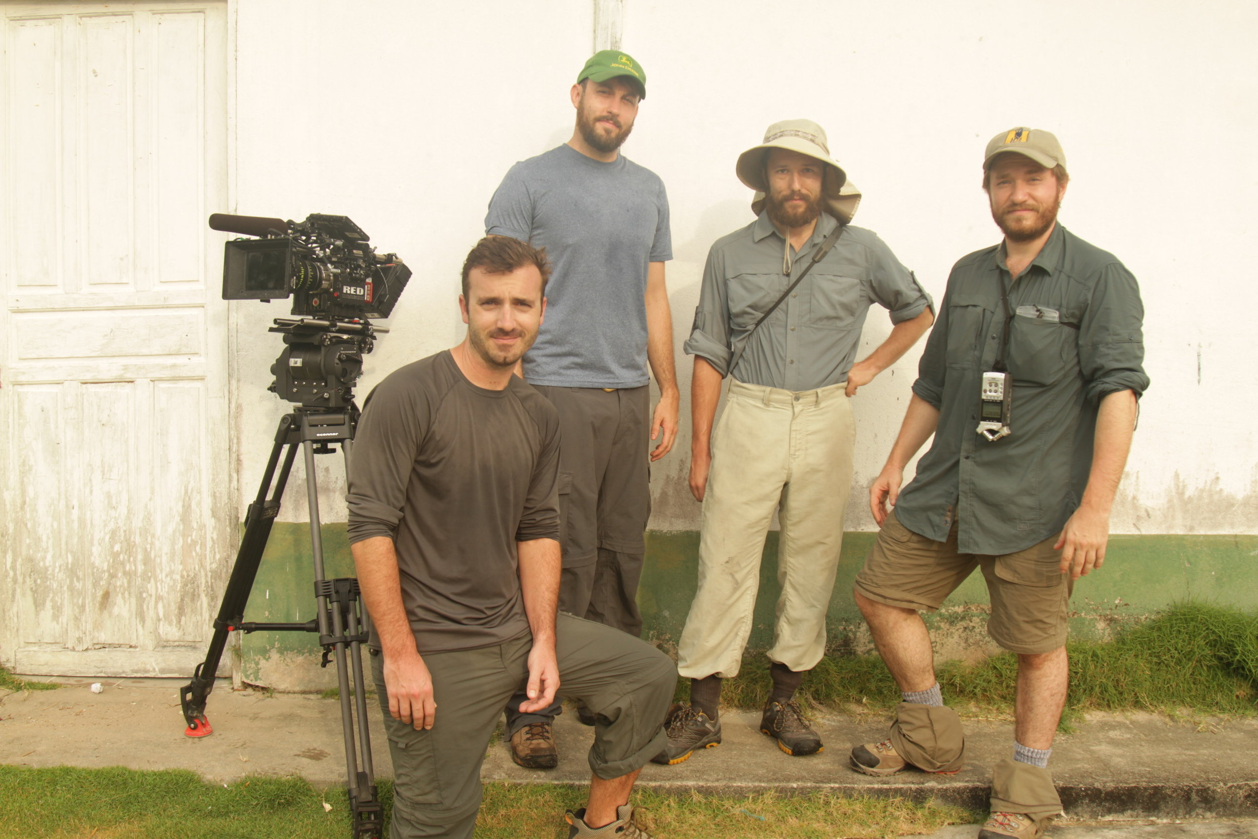 The US crew: Producer Dane Lilleguard, DP Will Basantha, AC Alexander Paul, and director Clay Jeter. Photograph by fixer Thiago Da Costa.