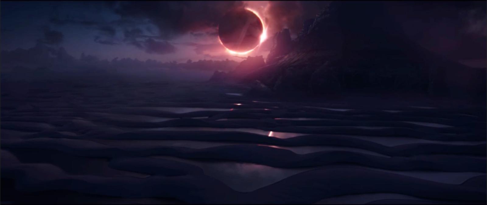 O planeta Vormir. Note as dunas e lagoas na parte inferior do quadro. Os elementos naturais da região foram usados para compor a imagem.