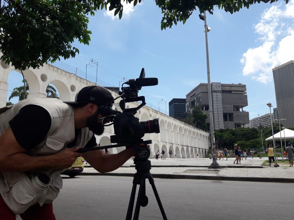 Filmando nos Arcos da Lapa