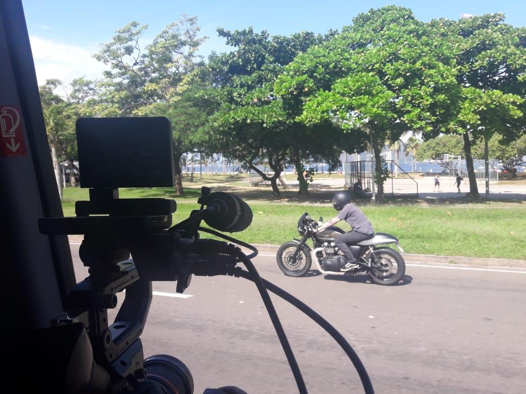 Nosso modelo motociclista em ação!