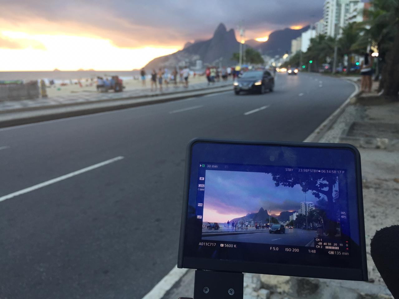 Sunset filming in Ipanema Beach
