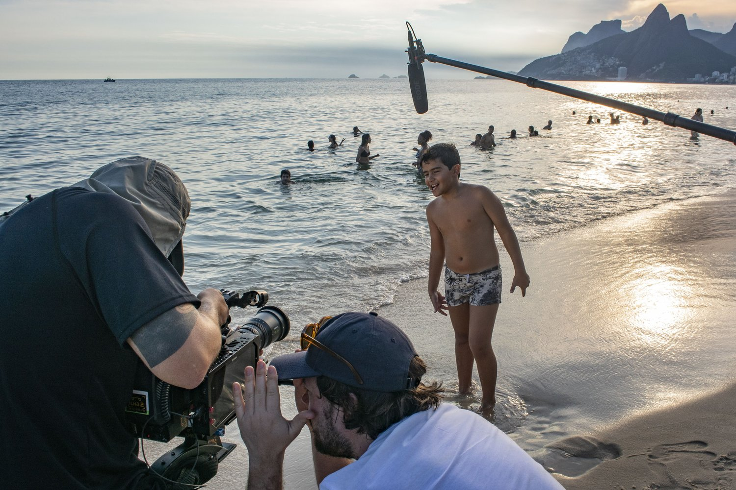 Norwegian crew filming in Ipanema.