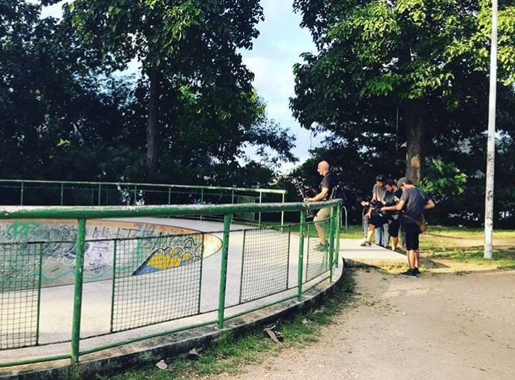 Filmando no Parque de Skate da Lagoa Rodrigo de Freitas.