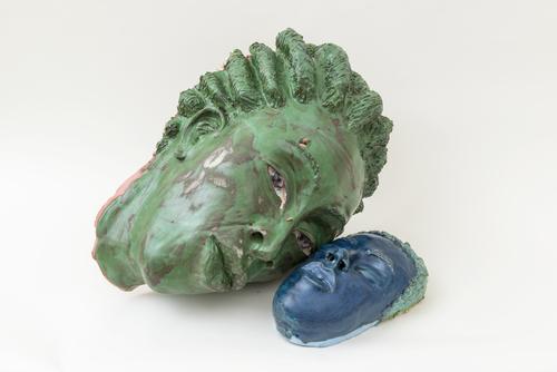 Aisha Tandiwe Bell,  Rage,  2016, stoneware, glaze, and fabric, 11 x 14 x 18 inches and 7 x 5 x 9 inches (27.94 x 35.56 x 45.72 cm) (17.78 x 12.7 x 22.86 cm)