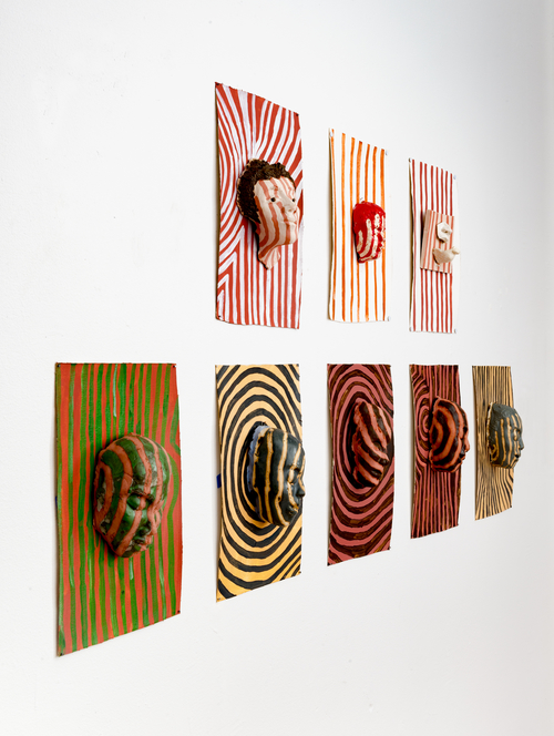 Aisha Tandiwe Bell,  Bars, Scars, Camoflauge , stoneware clay, glaze, and acrylic on canvas, Dimensions vary
