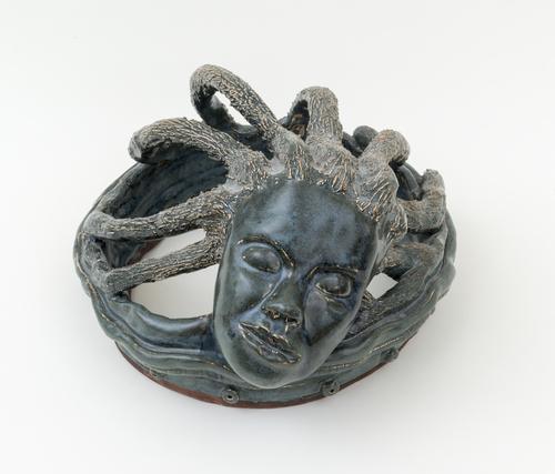 Aisha Tandiwe Bell,  Medusa , 2015, stoneware glaze, 21 3/4 inches circumference