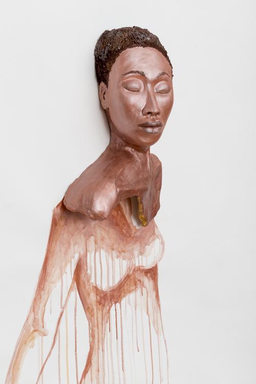 Aisha Tandiwe Bell,  Fisher , 2017 Stoneware, tempera paint, acylic, goldleaf, gold twine on canvas, 57 x 48 inches (142.24 x 121.92 cm)