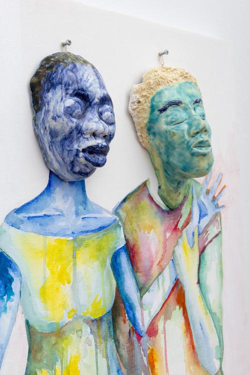 Aisha Tandiwe Bell,  Spirit Catching , 2017, stoneware, glaze, gold twine, acrylic on canvas and wood, 24 x 24 inches (60.96 x 60.96 cm)