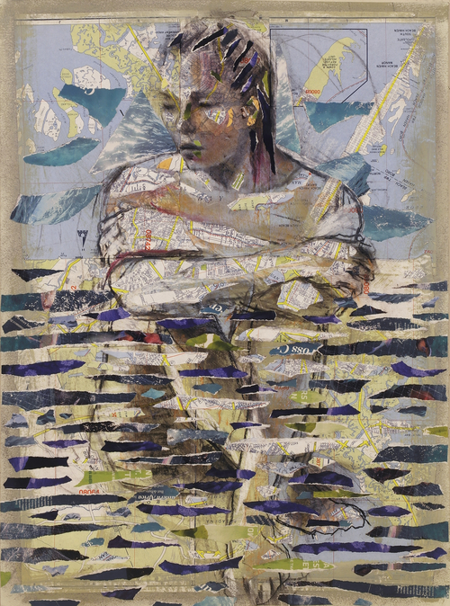 Audrey Anastasi, Aquatic Figure, 2019, drawing and mixed media collage on watercolor paper, 30 x 22 inches (76.2 x 55.88 cm)