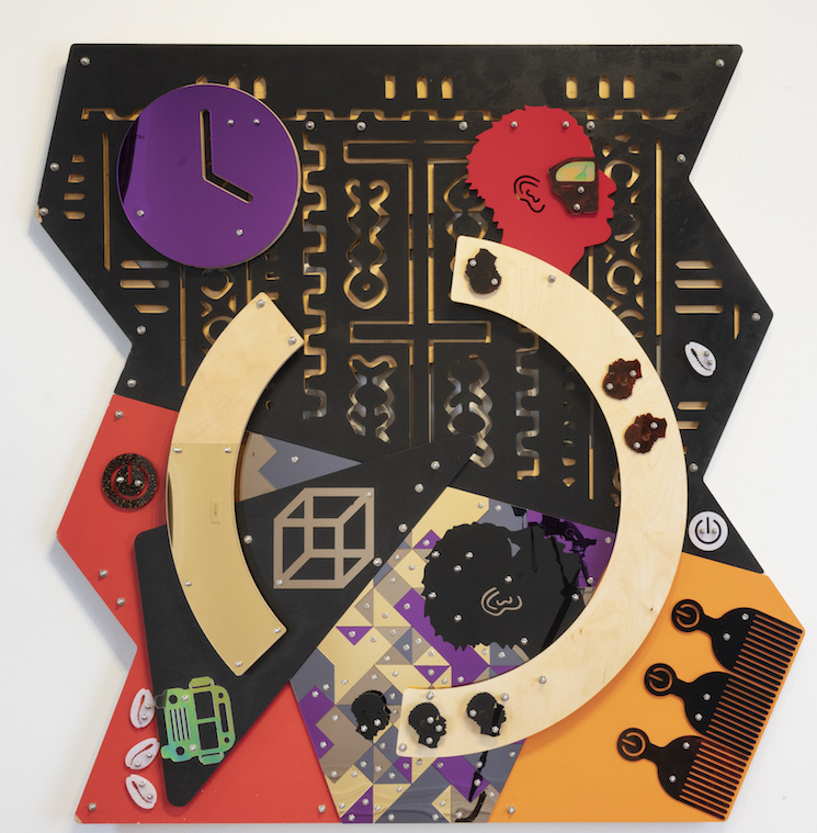 DAMIEN DAVIS, Far Beyond the Stars, (Blackamoors Collage #155), 2018, cnc routed mdf and baltic birch, plexiglass, mirror and stainless steel hardware, 60 x 60 inches (152.4 x 152.4 cm)