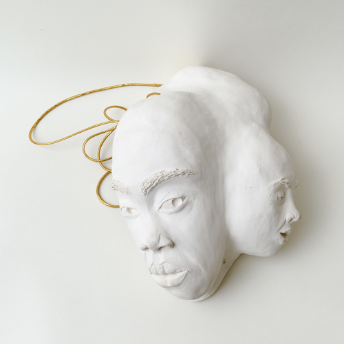 Aisha Tandiwe Bell, Chip on My Shoulder, low fire porcelain, clay and gold twine, 13 x 9 x 7 inches (33.02 x 22.86 x 17.78 cm)