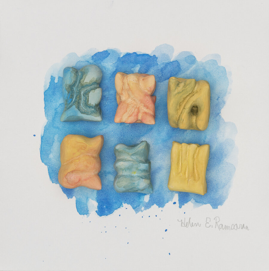 Corals New Beginnings 1, 2019, Carved clay and water color, 10 x 10 x 2 inches