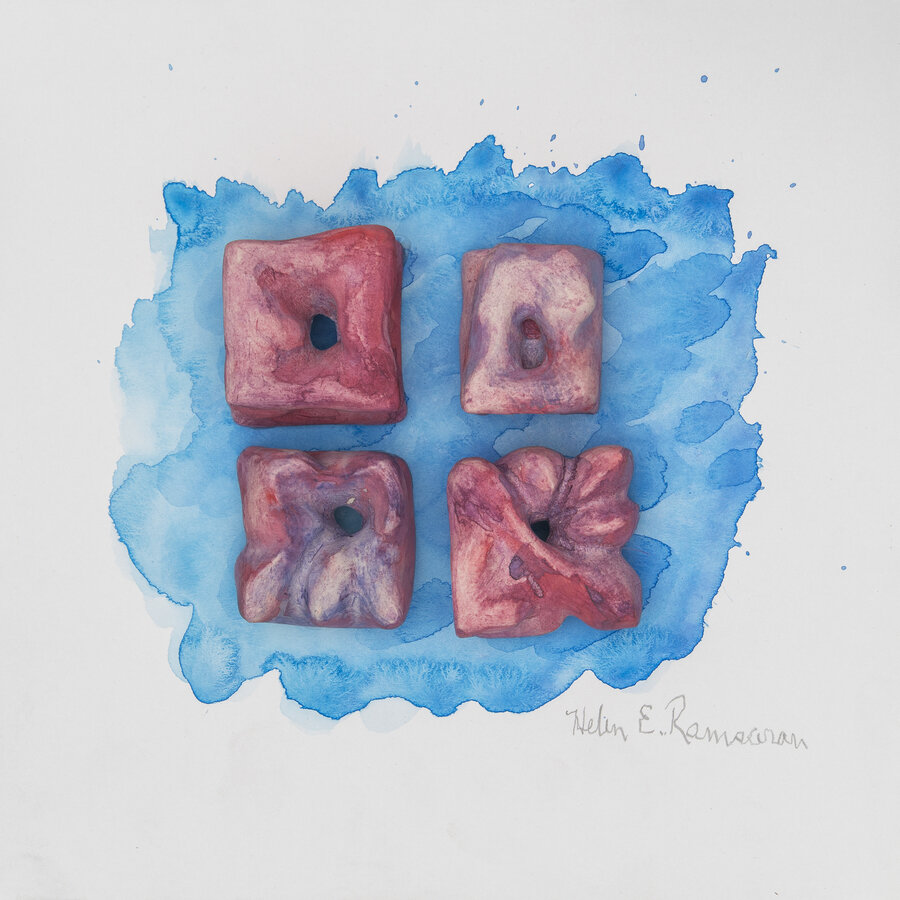 Corals New Beginnings 3, 2019, Carved clay and water color, 10 x 10 x 2 inches