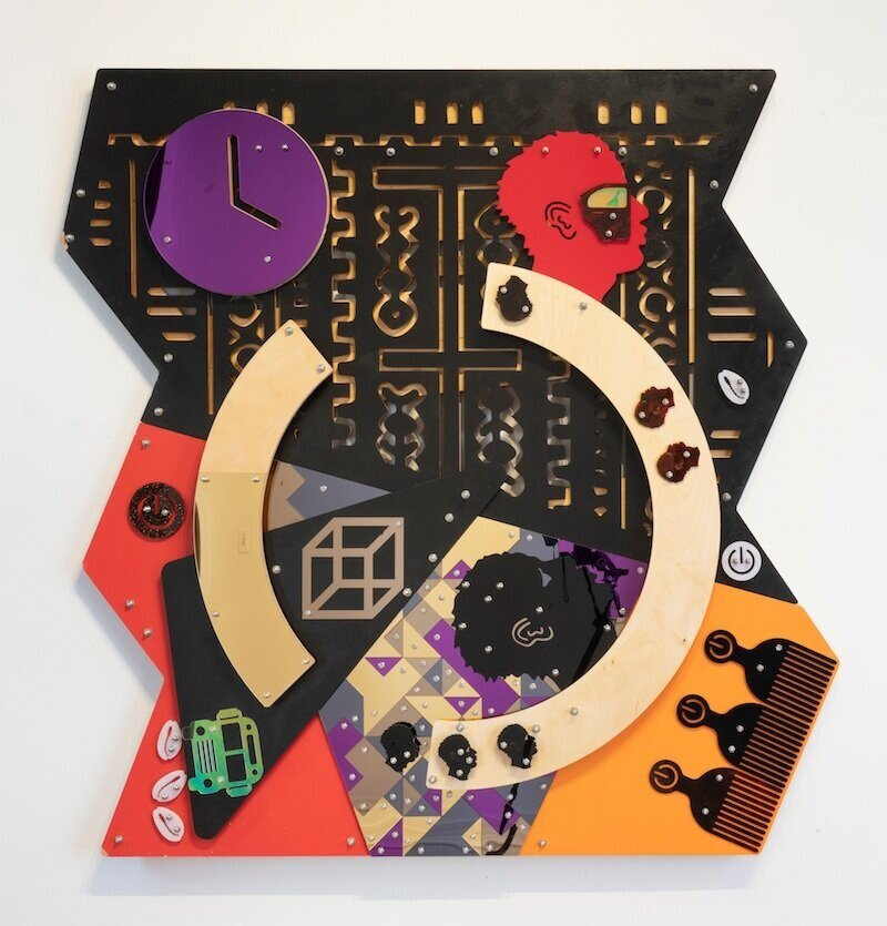 Damien Davis,  Far Beyond the Stars,  (Blackamoors Collage # 155), 2018, cnc routed mdf and baltic birch plexiglass, mirror, and stainless stell hardware, 60 x 60 inches (152.4 x 152.4 cm)