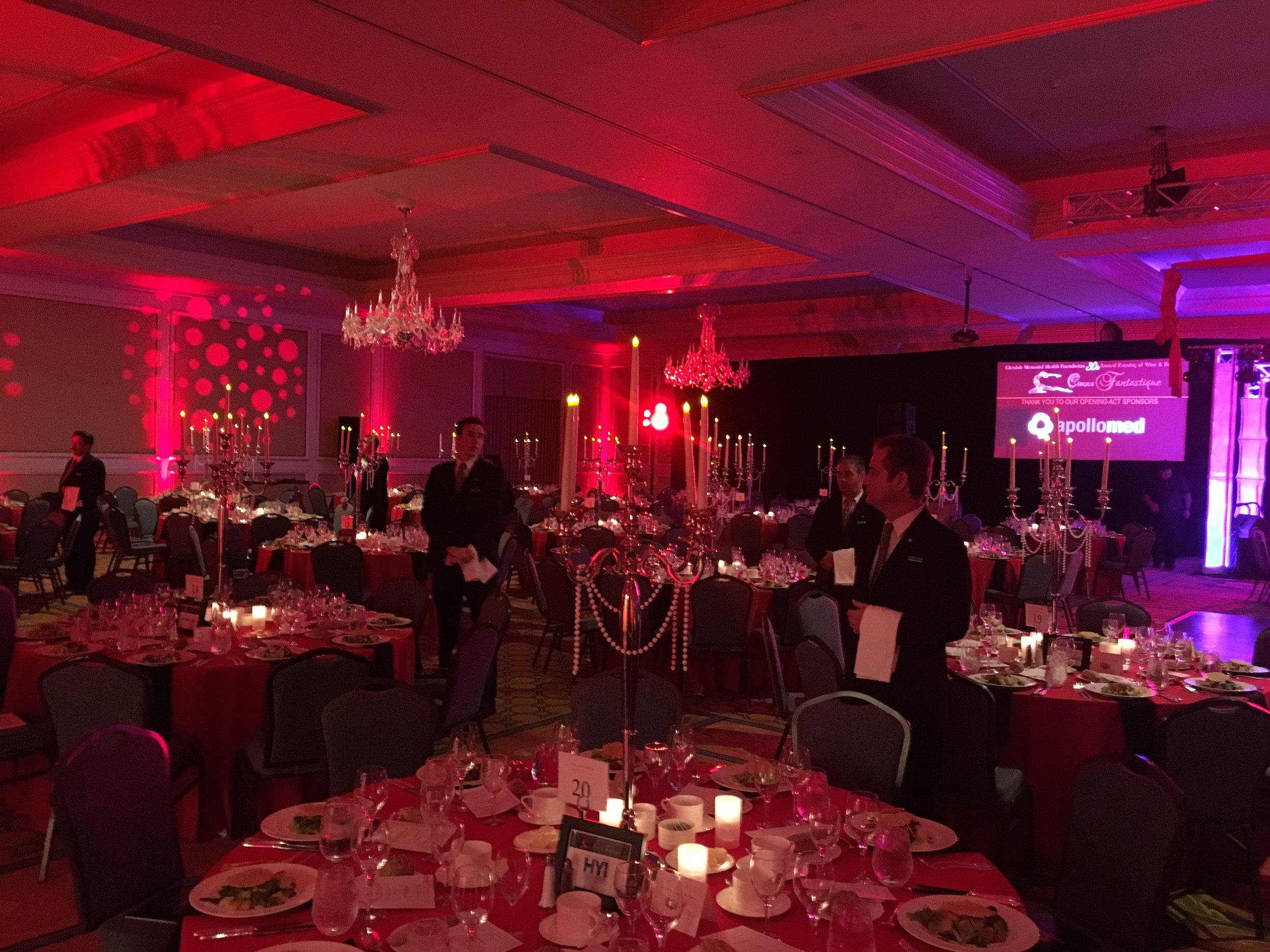 Dinner Set-up at the  Langham Huntington Pasadena Hotel