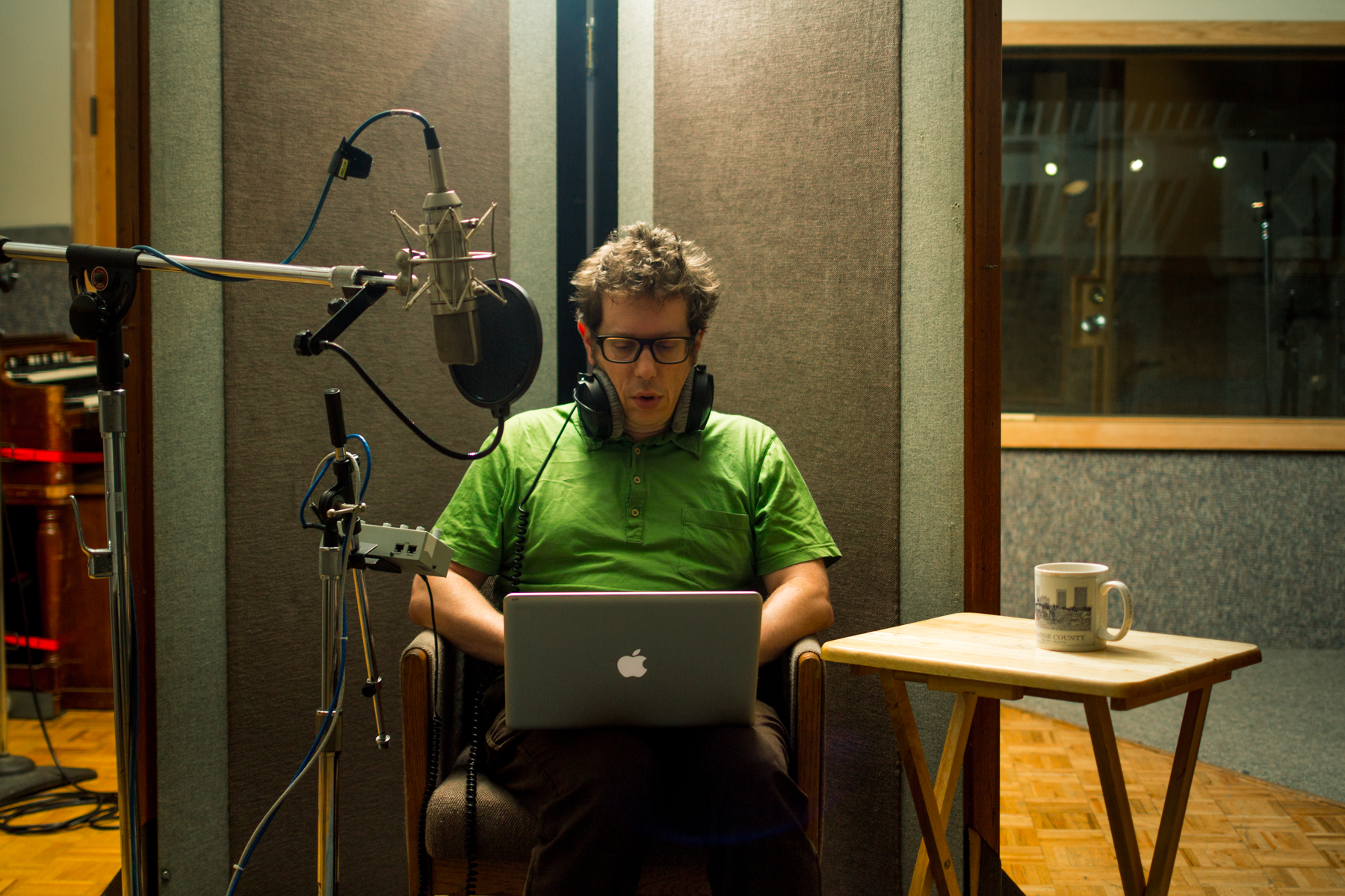 Director/ Writer Josh making last-minute re-writes while recording his narration to his brother at Hyde Street Studio.