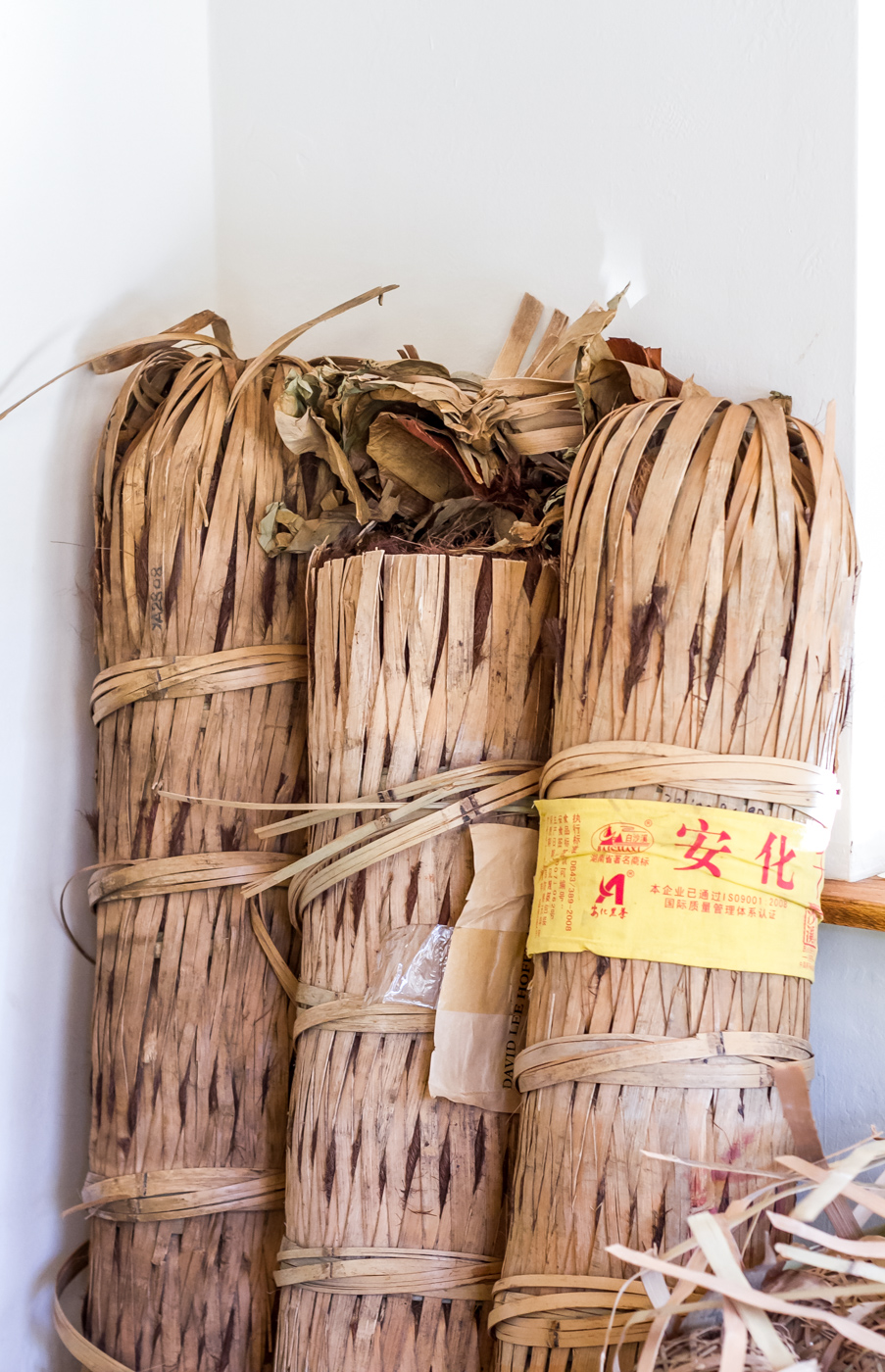 Heicha dark tea wrapped in bamboo