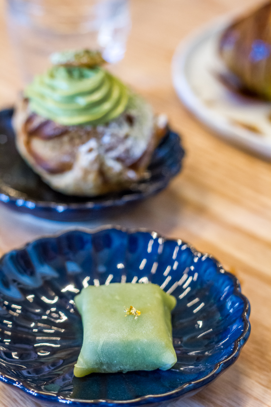 Matcha white chocolate wagashi and matcha cream puff at Stonemill Matcha Cafe in San Francisco