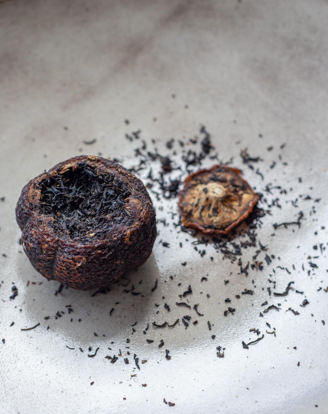 Korean black tea stuffed in a yuzu citrus