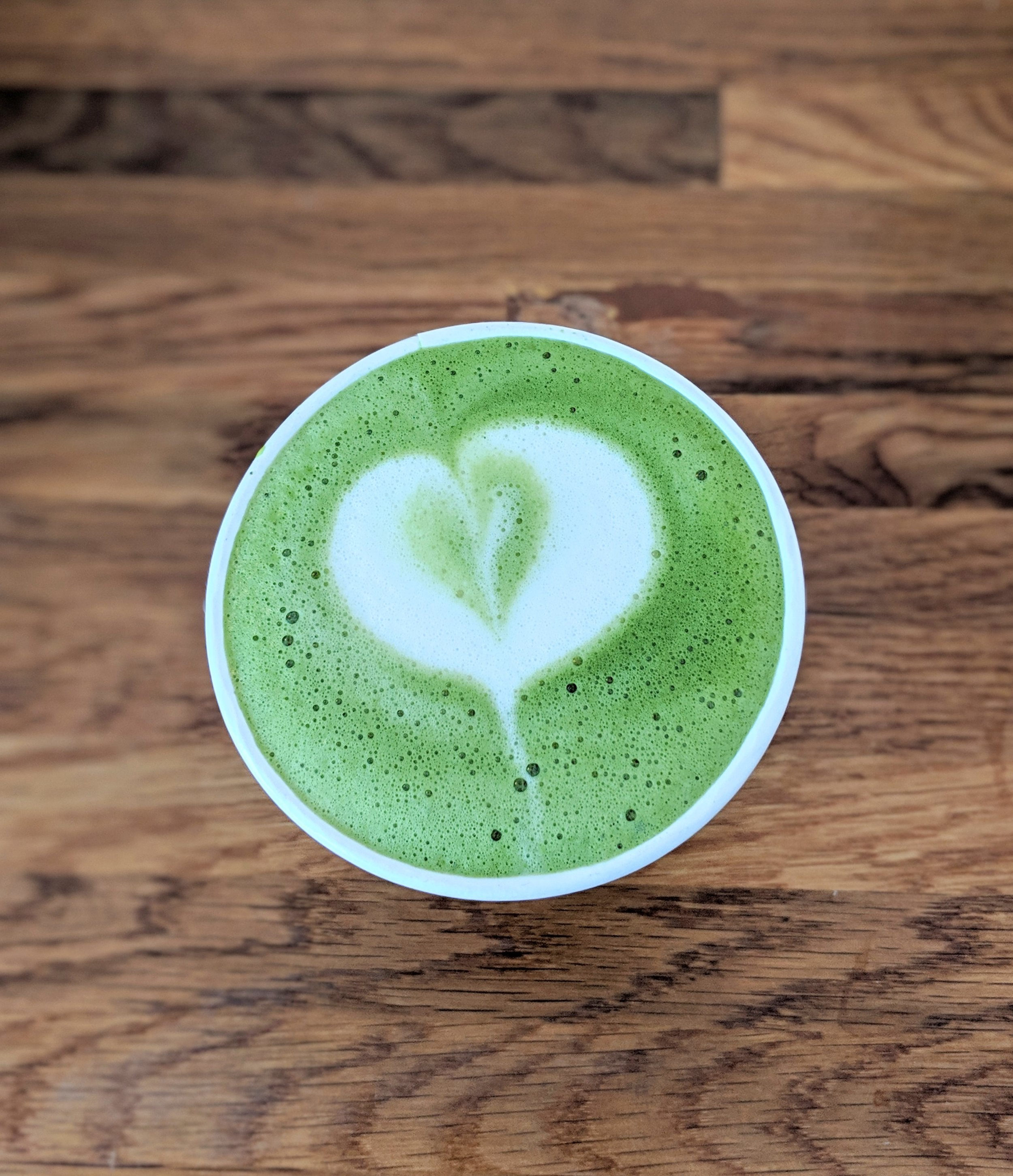 Hot matcha latte at Super Domestic Coffee in Culver City