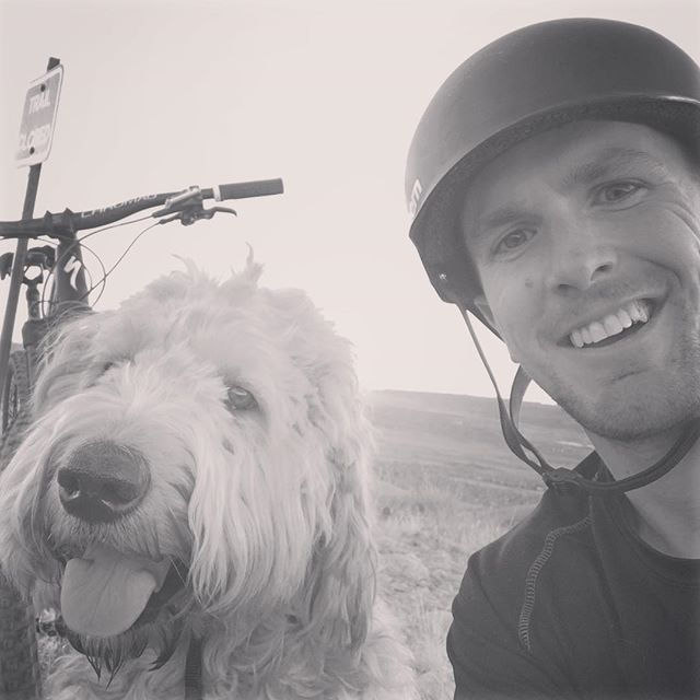 Ollie's first time joining me on a mountain bike ride up Green Mountain.