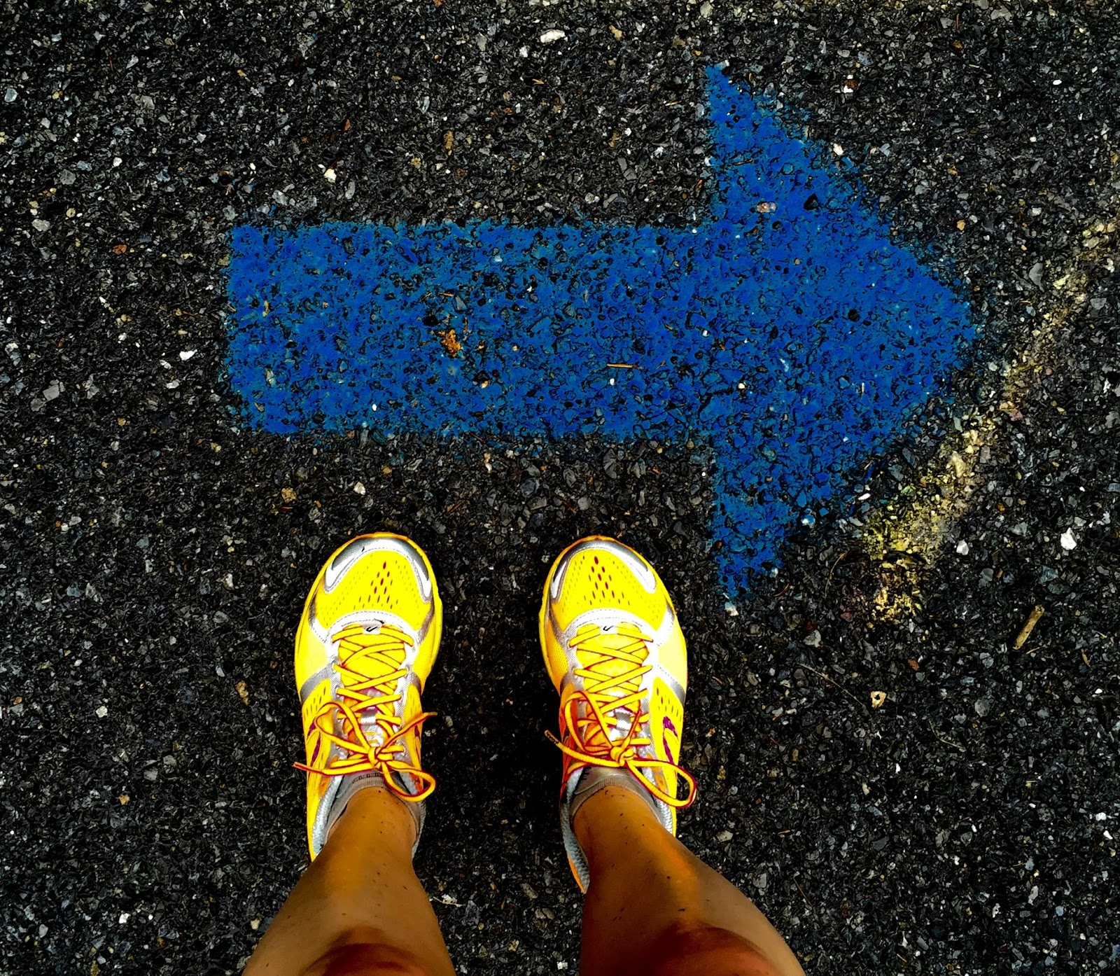 This picture was taken in June of 2015 during my Via Marathon training, the first attempt at a BQ.    Blue arrows mark the flow of the course.    Over time, the vibrance of the arrow faded.  The symbolism of that takes my breath away.  On the other hand, in no time, I ditched those bullshit Newton shoes, vowing to never endorse the brand again.