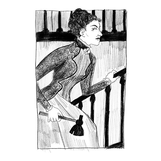 on this day, 127 years ago, lizzie borden took an axe. or did she??? swipe for a process vid! --- #lizzieborden #thetrialoflizzieborden #victorian #victorianera #illustration #artistsoninstagram #karynslee