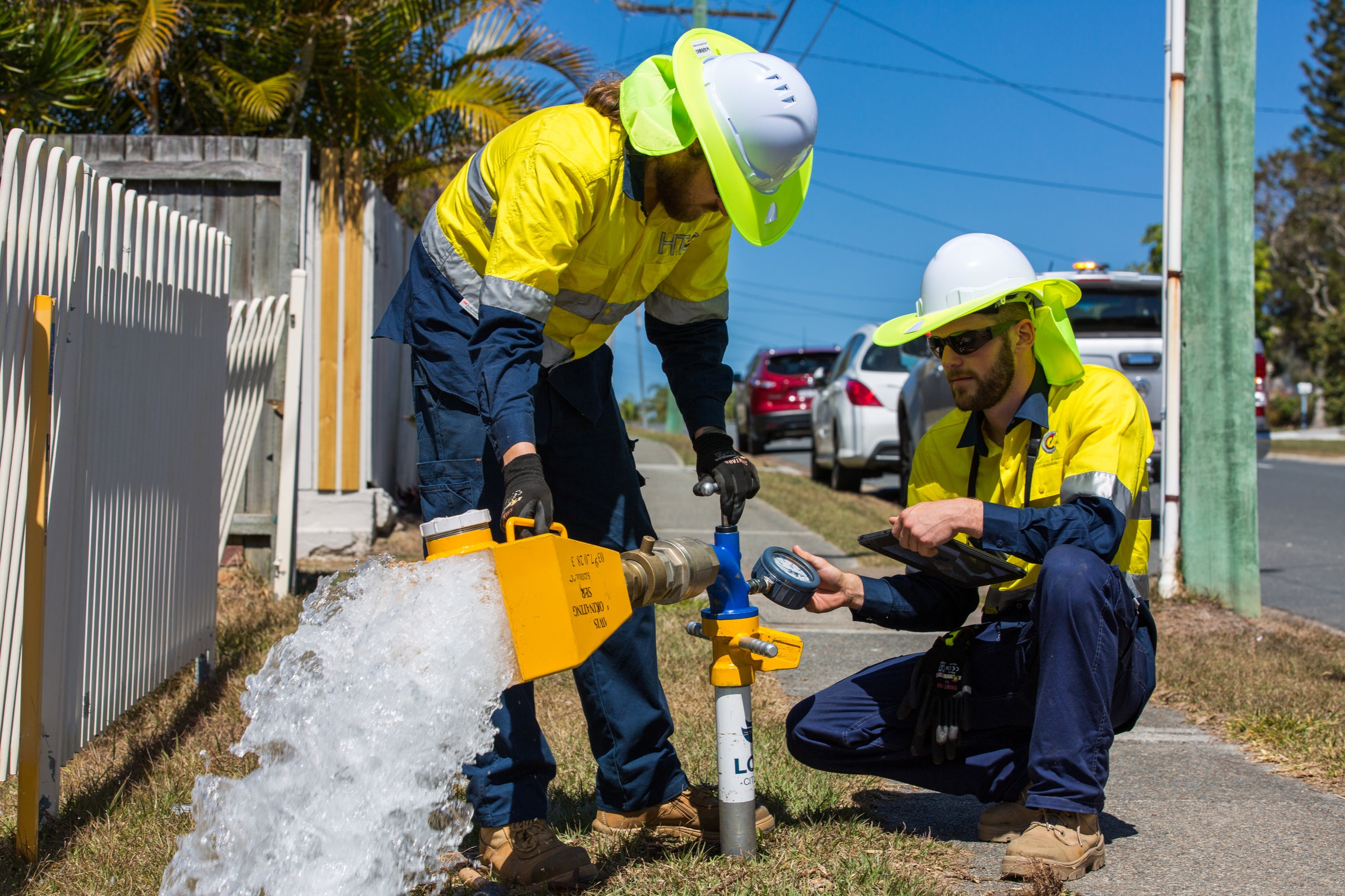 Fire hydrant flow testing in Logan. Image courtesy of the Logan WIA.