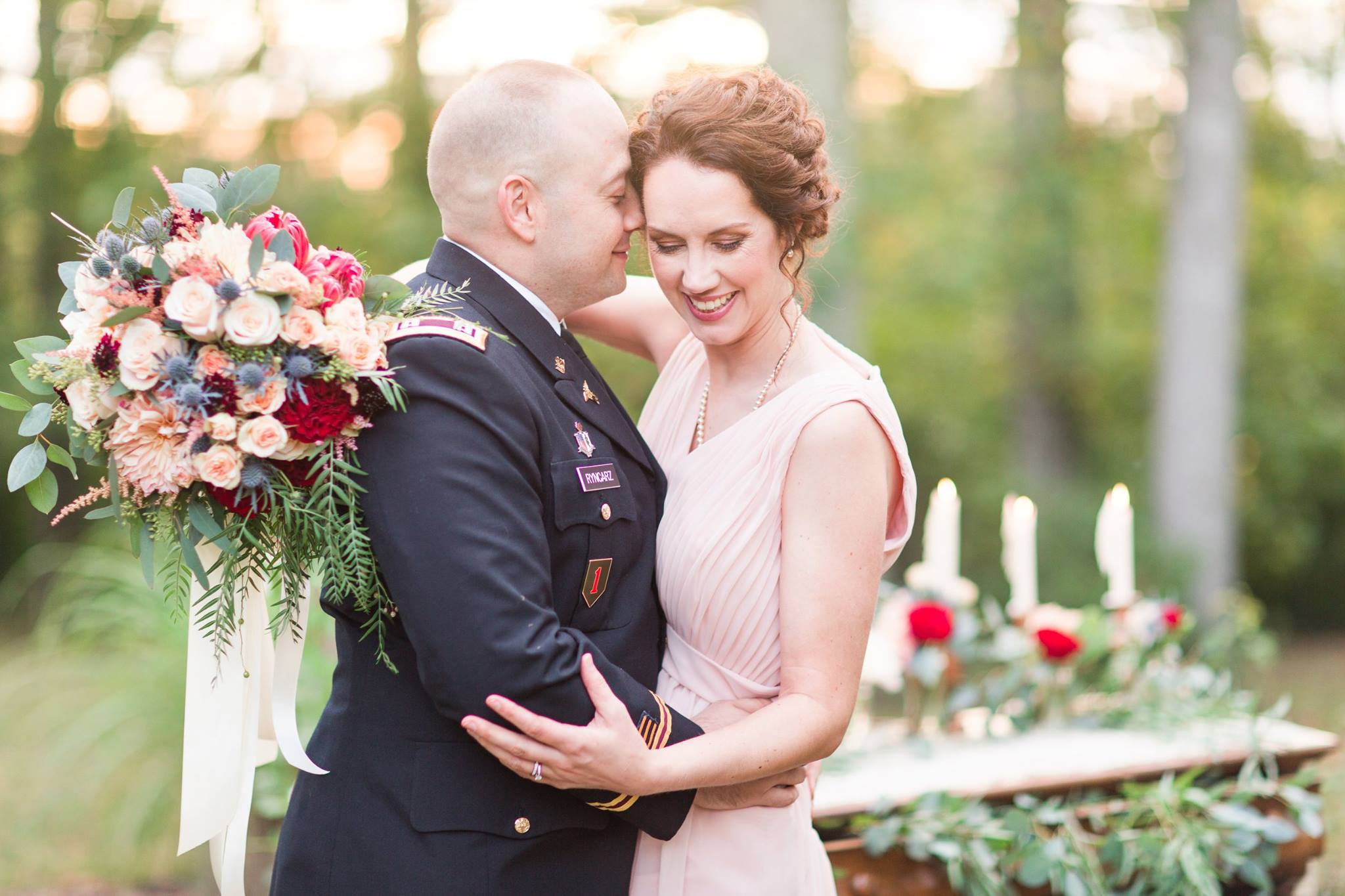 Bride and Groom Outdoor Military Wedding Vow Renewal Blush Flowers.jpg