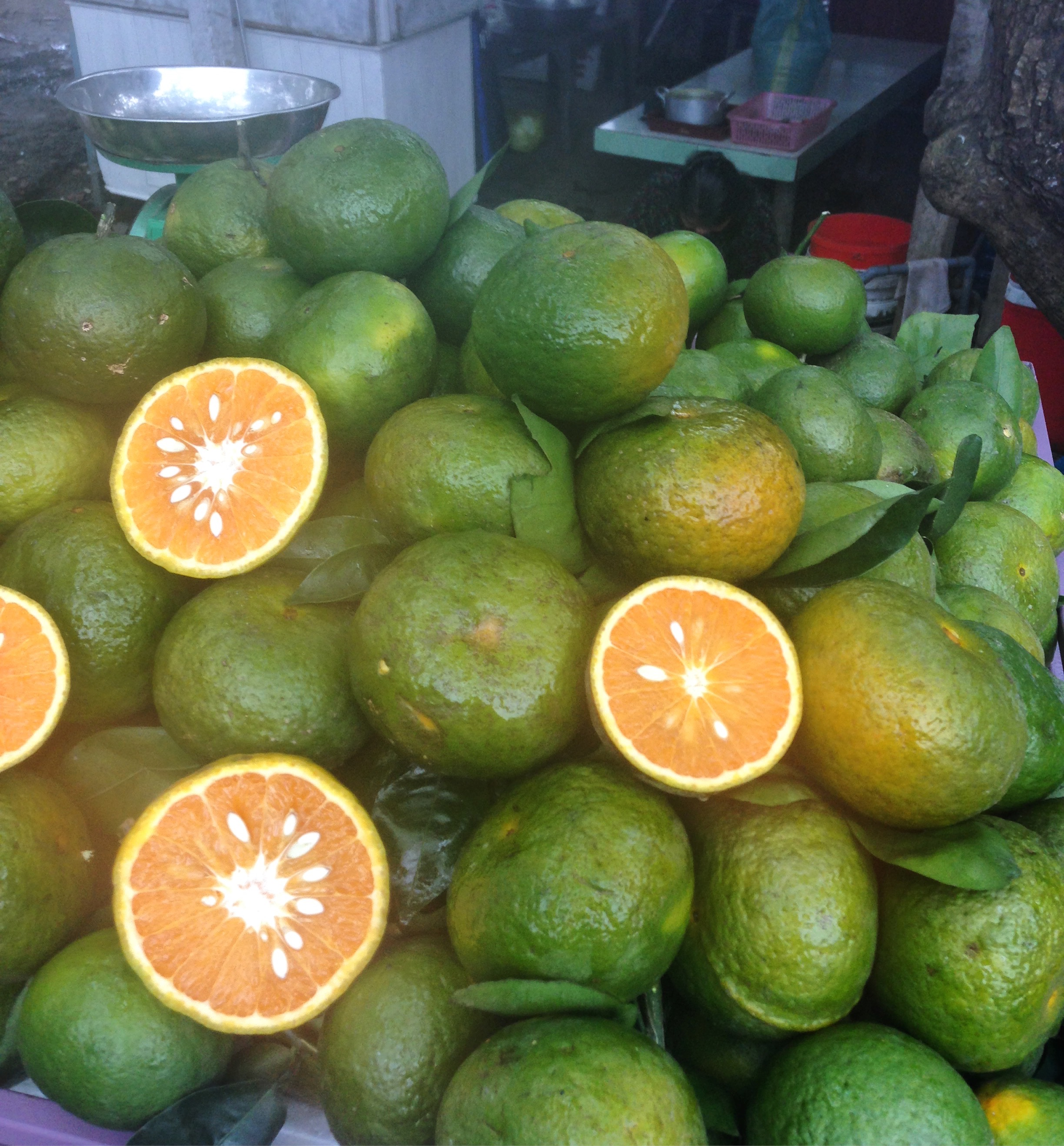 Vietnamese oranges are green on the outside. If you are looking for a freshly squeezed orange juice to combat the heat, then look for a stand that has piles of fresh green oranges. They are particularly juicy, and the flavour is mild in comparison to some of our oranges in Australia. Vietnamese typically will add sugar to the orange juice. I don't mind that, but I usually ask for no sugar.