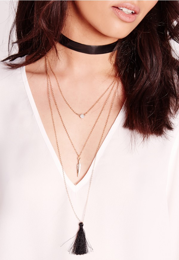 Missguided faux leather necklace $16.80