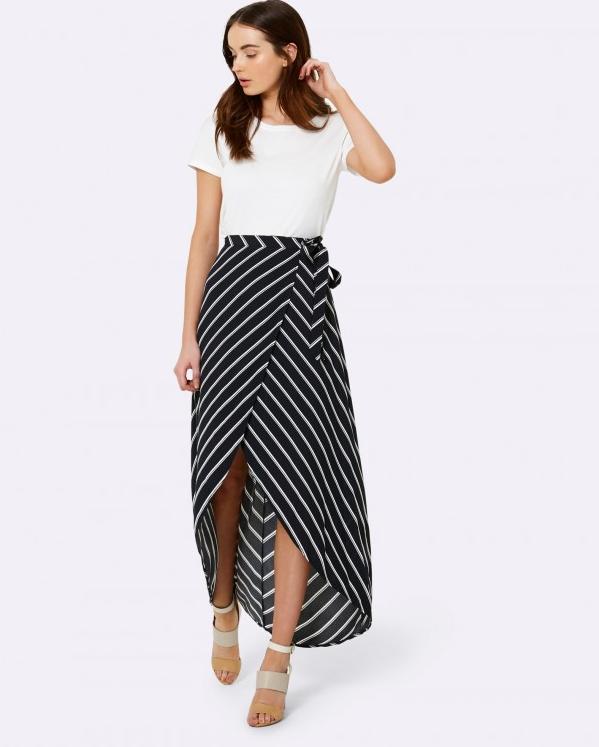Forever 21 Monique diagonal stripe wrap skirt $79.99
